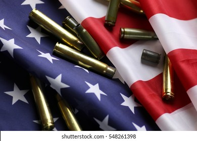 bullet on the USA flag
