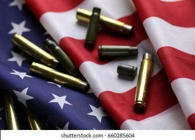 bullet on the USA flag