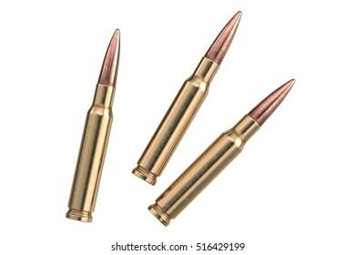 Bullet rifle copper round projectile. 3D graphic