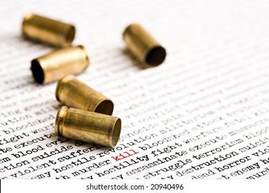 bullet shells over words depicting violence, death etc