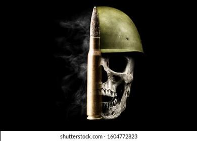 Bullet, skull and smoke. Human skull in military helmet isolated on black. War concept.