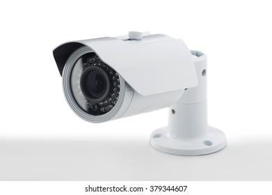 Bullet style secure camera on light background, surveillance cameras.