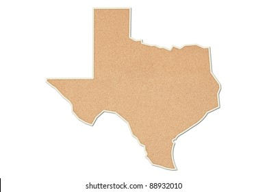 Bulletin board in the shape of the state of Texas.
