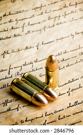 """bullets on the bill of rights - the right to bear arms. macro with limited dof, focus on tips and """"bear arms"""" section of writing"""