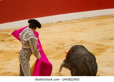 bullfighter with suit of lights doing task