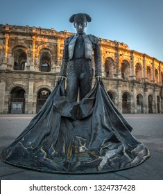 Bullfighters statue by the Ancient roman Arena of Nimes, France