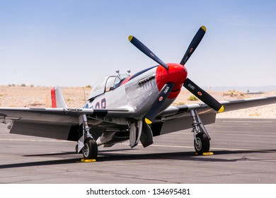 BULLHEAD CITY, ARIZONA - APRIL 6: Classic World War II era American P-51 Mustang fight and bomber escort on display at an air show in Bullhead City, Arizona on April 6, 2013.