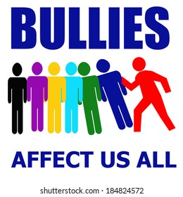 bullies affect us all illustration assorted colors on white