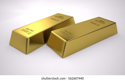 Bullion Sterling Gold, Pure Gold, Wealth, 3D Render