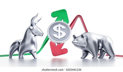 Bullish And Bearish Trends Of Dollar. Currency coin of Dollar in between of metallic statuettes of a bull and a bear in front of trending arrows. 3D rendering graphics on white background.