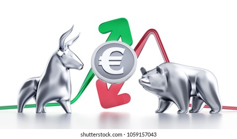 Bullish And Bearish Trends Of Euro. Currency coin of Euro in between of metallic statuettes of a bull and a bear in front of trending arrows. 3D rendering graphics on white background.