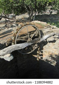 Bullock operated water wheel for well  near Kumbhalgarh Fort in Rajasthan, India, Asia