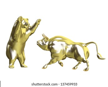 Bulls vs Bears - Gold Market: Angry Golden Bull and Bear squaring off.  Isolated on a white background
