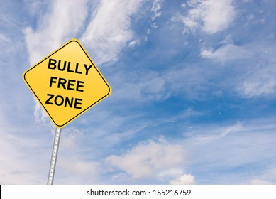 bully free zone road sign