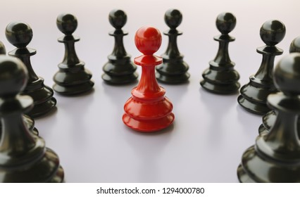 bullying; concept, red pawn of chess, standing out from the crowd of blacks