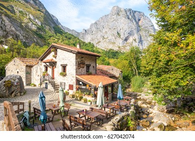 BULNES, SPAIN - OCTOBER 11. Gastronomy in the village Bulnes in the Picos de Europa, No roads reach Bulnes. It can now be accessed by an underground funicular from Poncebos. Bulnes on October 11, 2016