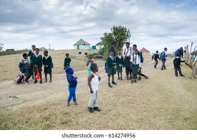 BULUNGULA LODGE, WILD COAST, REPUBLIC SOUTH AFRICA, 21st JULY 2016. Xhosa children playing after school.