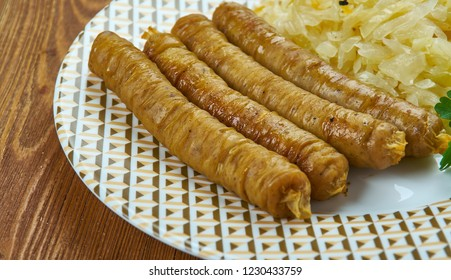 Bulviniai vedarai -  Lithuanian  sausage, various types of sausage or stuffed intestine with a filling made from a combination of meat and meal