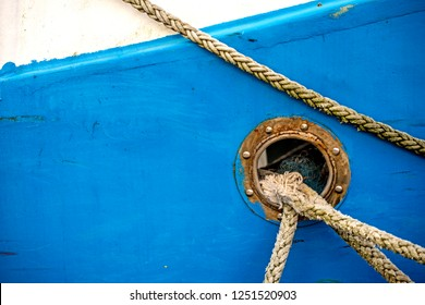 bulwark with mooring lines of a trawler