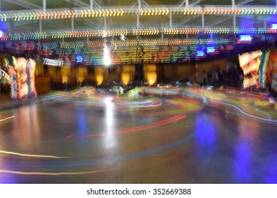 Bumper cars in motion abstract at Christmas market in Sibiu, Romania
