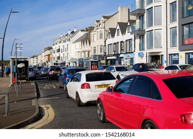 Bumper to bumper traffic on a sunny Sunday Afternoon on the Promenade in Portstewart, Northern Ireland, October 12, 2019
