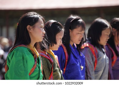 BUMTHANG, BHUTAN - OCTOBER 6, 2011: Female Performers performing  at the Bhutan festival.
