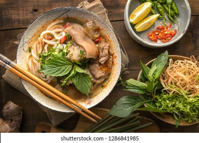 Bun Bo Hue, Bun Bo, Vietnamese beef noodle soup spicy. A bowl of beef & rice vermicelli soup, vietnamese noodle cuisine in Hue, Vietnam.