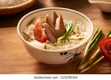 Bun cha ca - one of most popular soup noodle in the seaside area with rice noodle, grilled fish, green onion, tomato and fish sauce...
