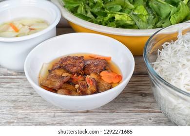 Bun Cha Hanoi, popular grilled pork with rice vermicelli from Vietnam