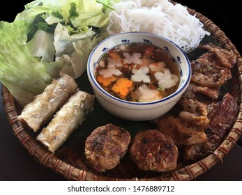 Bun Cha, set of grilled pork rice noodles and herbs (On Black background), Vietnamese cuisine