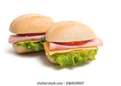 Bun with cheese and ham isolated on white background