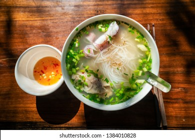 Bun Quay Vietnamese food or Quay rice noodle on wood background, famous food at Phu Quoc island, Kien Giang, Vietnam.
