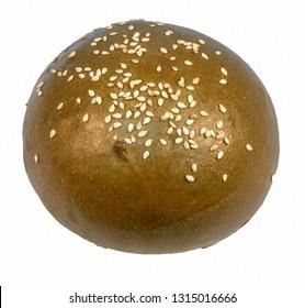 Bun with sesame seeds for hamburger green