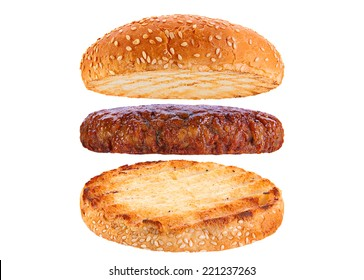 Bun and veal patty ingredient hamburger isolated on white background