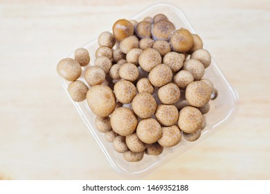Buna Shimeji mushroom in plastic container or package. The mushroom is tasty in soup and other kinds of food, and it is rich with nutrients that are good for human body. Edible Fungi in market