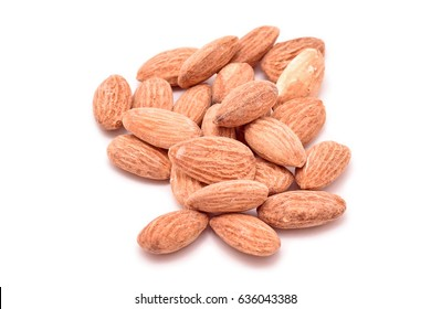 Bunch of almonds isolated on white background