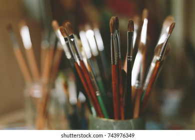 Bunch of artist paintbrushes. Artistic paintbrushes.