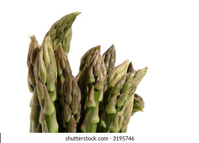 bunch of asparagus tips on white