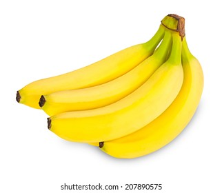 bunch of bananas in front of white background