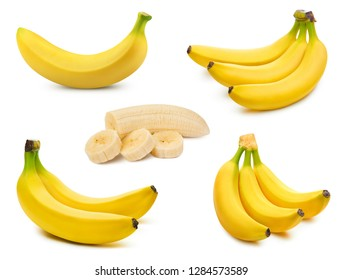 Bunch of bananas isolated on white background. Bananas collection Clipping Path
