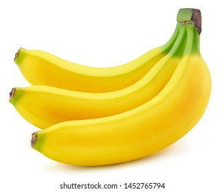 Bunch of bananas isolated on white background. Ripe bananas Clipping Path. Quality macro photo for your project.