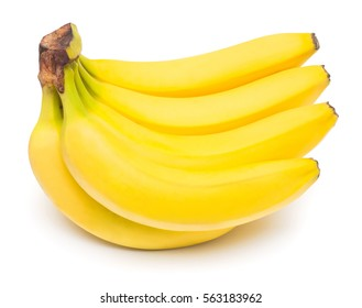 Bunch of bananas isolated on white background. Flat lay, top view