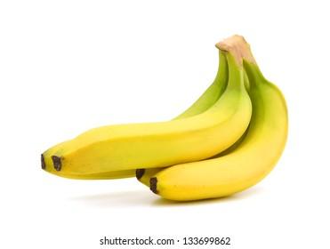 Bunch of bananas white isolated. Studio shot
