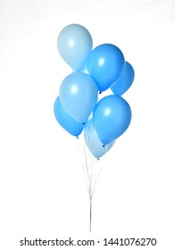 Bunch of big blue balloons object for birthday party isolated on a white background