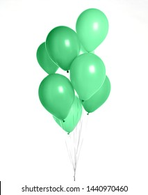 Bunch of big green balloons object for birthday party isolated on a white background