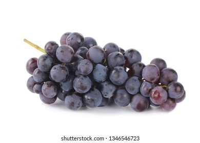 bunch of blue grapes isolated on white
