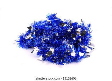 bunch of blue spangles garland for the Christmas tree