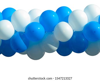 bunch of Blue and white party balloons isolated over white background
