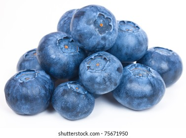 Bunch of blueberries isolated on white background.