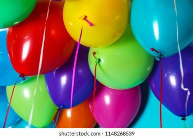 Bunch of bright balloons, closeup view. Festive decor